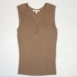 Merona Tank Top Brown V-Neck Buttons Sleeveless